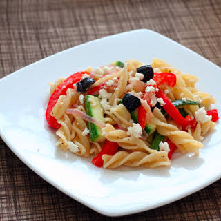 Fusilli With Peppers, Zucchini, and Feta.