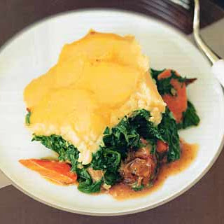 Braised-Lamb Shank Shepherd's Pie with Creamed Spinach.