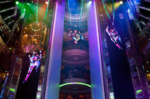 Splendour-of-the-Seas-Centrum-aerial-show - An elegantly staged aerial show at Centrum, the six-deck high atrium on Splendour of the Seas.