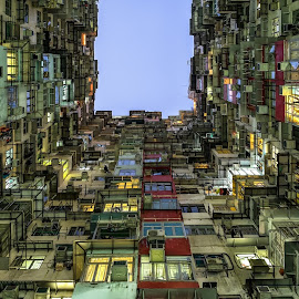 Walled Up by CK Lam - Buildings & Architecture Homes ( yick cheong building, hong kong, residence, blue hour, king's road, architecture, tai koo )