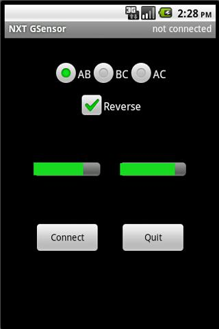 NXT GSensor Remote - screenshot