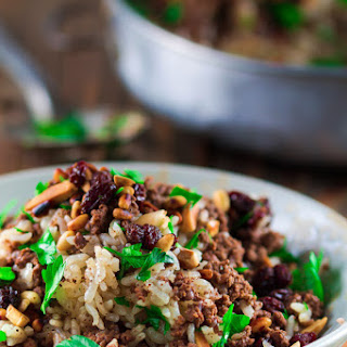 Hashweh, Ground Beef and Rice Recipe with Nuts and Raisins