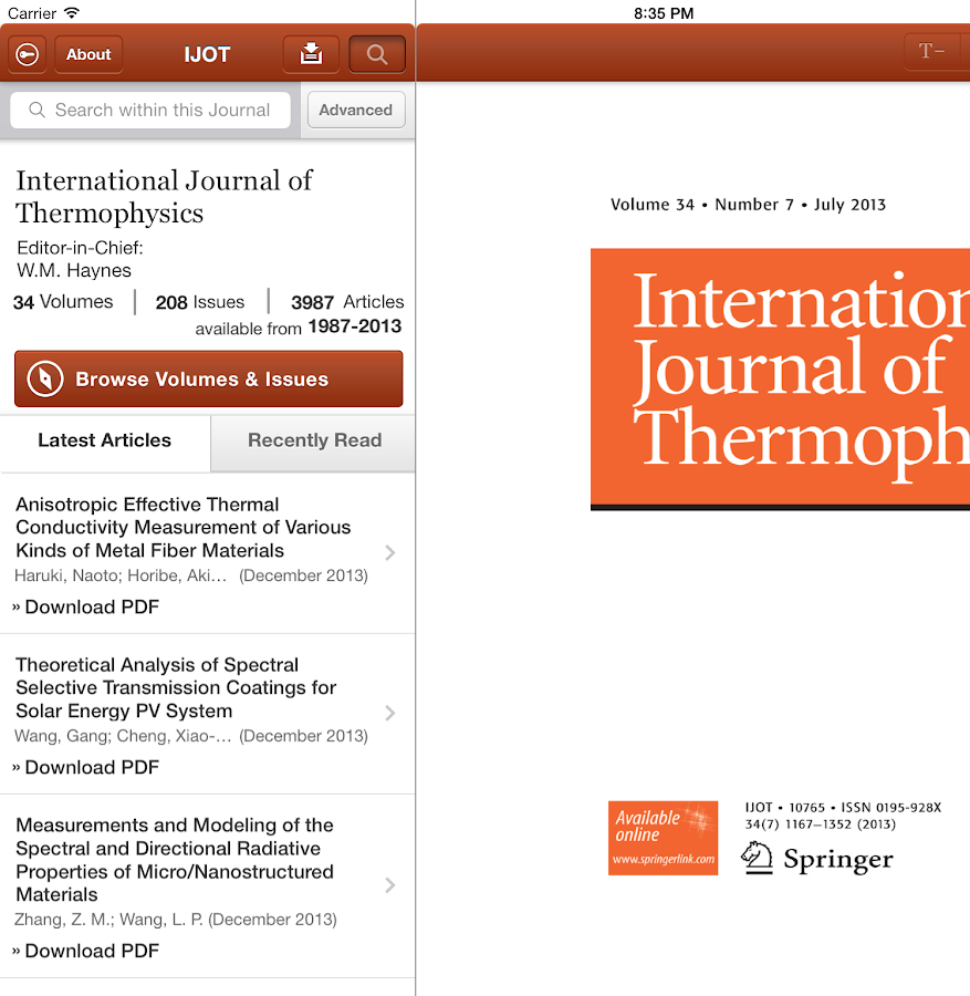 Intl Journal of Thermophysics- screenshot