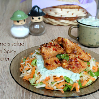 Carrots Salad With Spicy Chicken And Yogurt Sauce