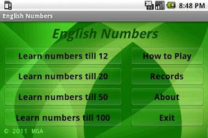 Screenshot of Learn English Numbers