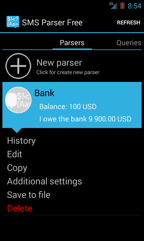 SMS Parser Free - screenshot