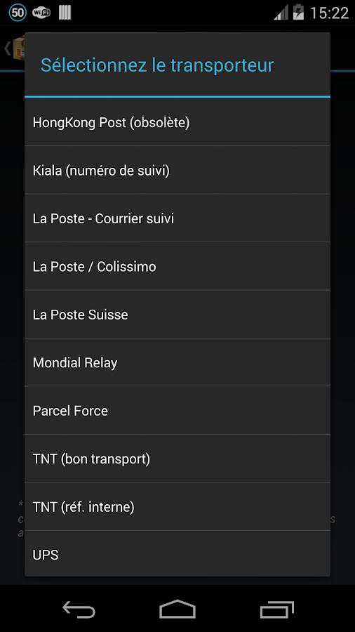 Suivi par Droïd (suivi colis)- screenshot