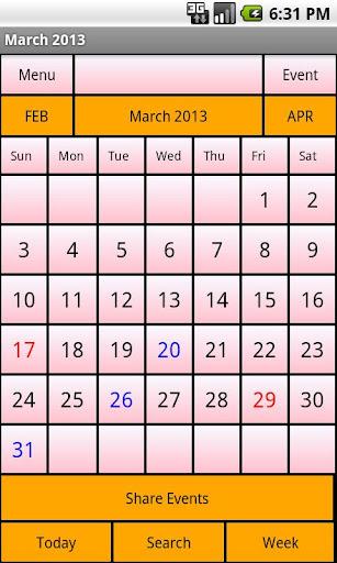Calendar Me Ireland 2013