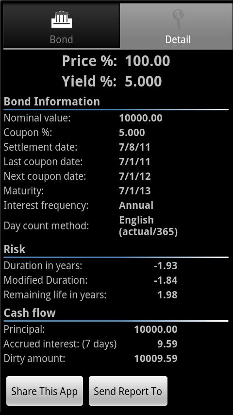Bond Calculator - screenshot