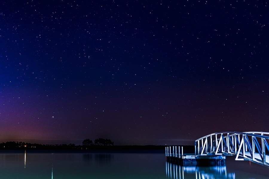 silent night by Audrey McCullough - Landscapes Starscapes ( water, stars, lake, night, dock )