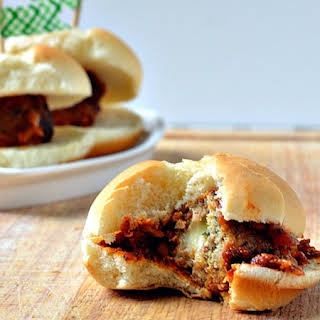 Mozzarella Stuffed Meatball Sliders.