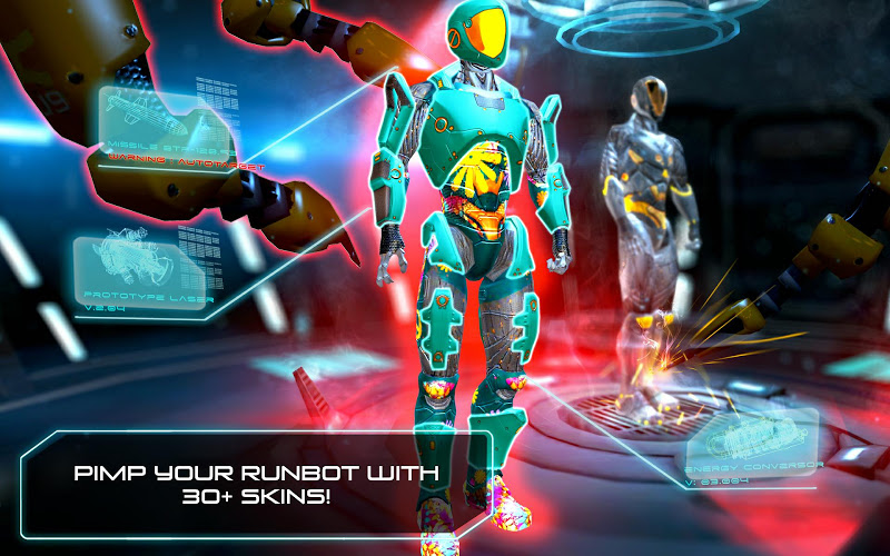 RunBot v2.2.2.0 Hack Mod APK (Unlimited Battery Cells & Super Cores) - screenshot