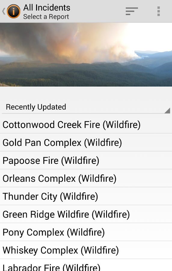 Current Wildfires Information- screenshot