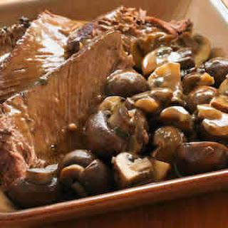 Stove-top Pot Roast Recipe with Mushrooms and Sage.