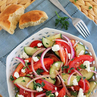 Easy Tomato, Cucumber and Red Onion Salad.