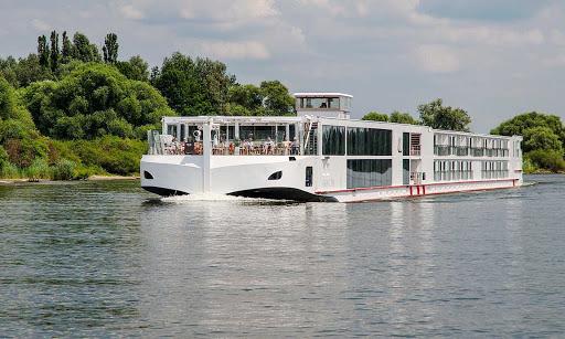 Viking-Tor-Regensburg-Germany - The river cruise ship Viking Tor on the Danube near Regensburg, Germany.