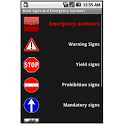 Road signs, emergency numbers icon