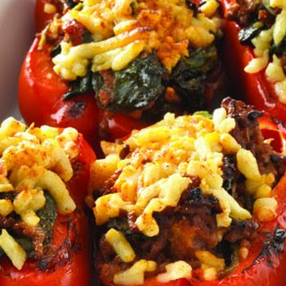 Glazed Baked Stuffed Red Peppers