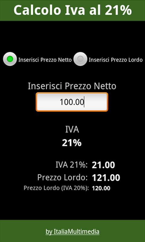 Iva al 21% - screenshot