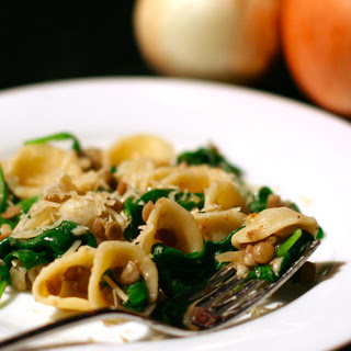 Orecchiette with Lentils, Onions, and Spinach.