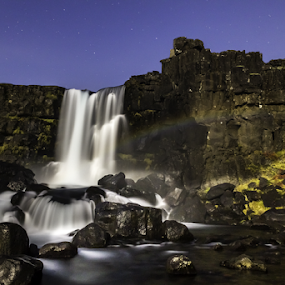 Rainbow at night by Kristvin Guðmundsson - Landscapes Waterscapes ( canon, öxará, green, waterfall, 60d, alþingi, fossar, iceland, red, blue, stars, kristvin, canon 60d, rainbow, river, colorful, mood factory, vibrant, happiness, January, moods, emotions, inspiration, Earth, Light, Landscapes, Views )