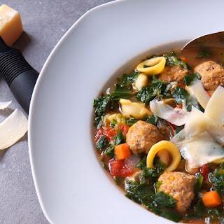 Healthy Turkey Meatball and Kale Soup.
