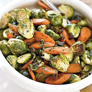 Roasted Brussels Sprouts With Crispy Capers and Carrots.