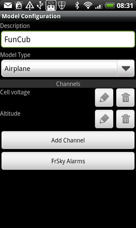 FrSky Dashboard– Capture d'écran