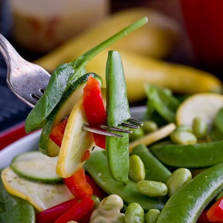 Raw Vegetable Salad with Creamy Italian Dressing