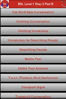 Screenshot of BSL Level 1 Step two Part B