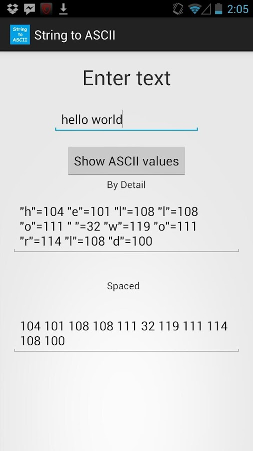 String to Ascii Converter - screenshot
