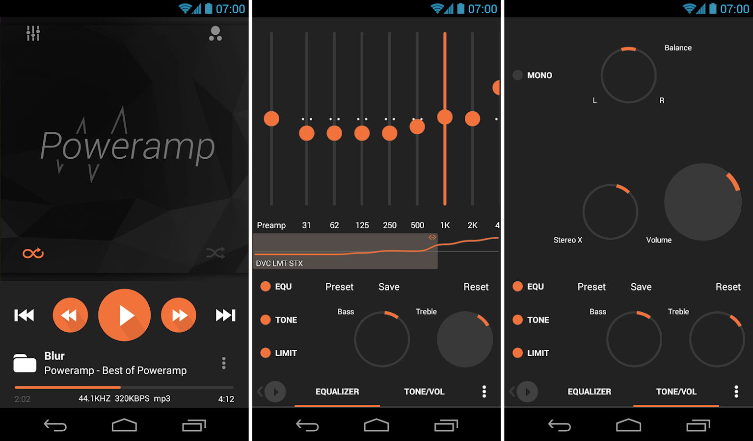 Poweramp skin 8in1 Flat Dark- screenshot