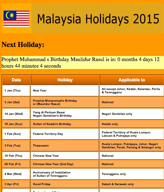 Malaysia Public Holiday 2016 - Android Apps on Google Play