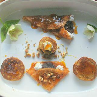 Cardamom Thai Tea Crepes filled with Azuki Cream, Coconut and Pecans.