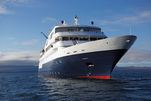 Celebrity_Xpedition_at_sea -  With a capacity of 96 passengers, Celebrity Xpedition is much smaller than Celebrity's other ships, offering more personal attention.