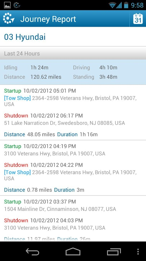 FleetMatics Mobile - screenshot