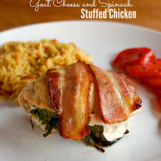 Bacon Wrapped Chicken Roll Ups with Spinach and Goat Cheese.