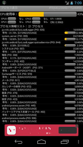 CPU使用率とプロセスリスト表示