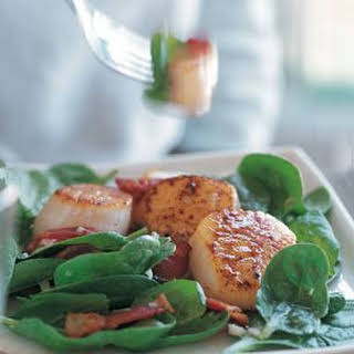 Warm Spinach Salad with Scallops.