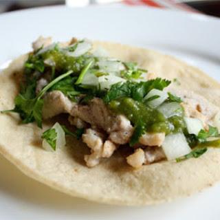Pork Tacos with Poblano and Tomatillo Salsa