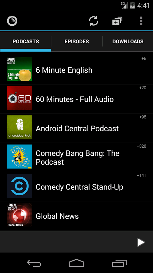 Podkicker Podcast Player: captura de pantalla