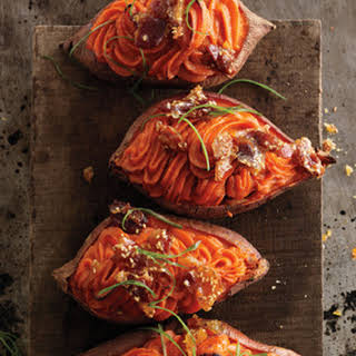 Twice-Baked Sweet Potatoes with Bacon-Sesame Brittle.