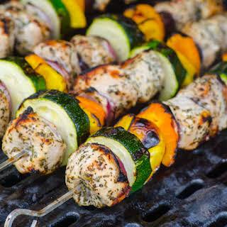 Greek Style Chicken Kebabs.