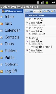 Outlook 2003 Mobile Web Email - screenshot thumbnail