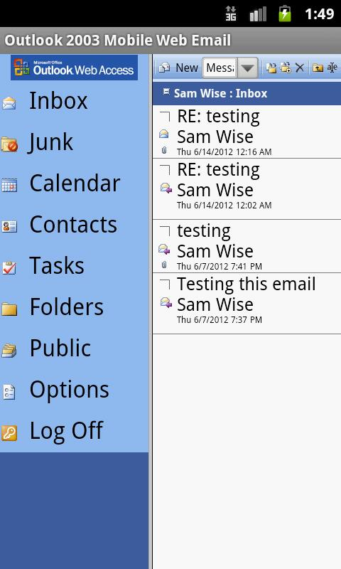 Outlook 2003 Mobile Web Email - screenshot