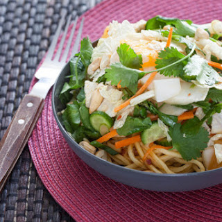 Chopped Asian Salad with Cold Noodles & Soy-Peanut Vinaigrette.