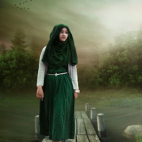 green hooded woman by Syahbuddin Nurdiyana - Digital Art People