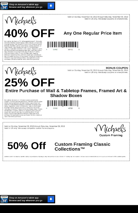 michaels store coupon app - Michaels Frames Coupons