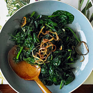 Spinach with Fried Shallots.