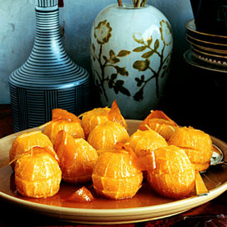 Poached Oranges with Candied Zest and Ginger